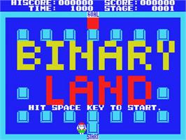 Title screen of Binary Land on the MSX.