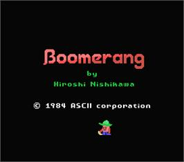 Title screen of Boomerang on the MSX.