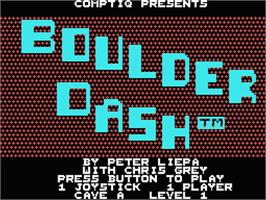 Title screen of Boulder Dash on the MSX.