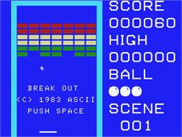 Title screen of Breakout on the MSX.