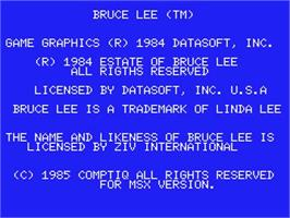 Title screen of Bruce Lee on the MSX.