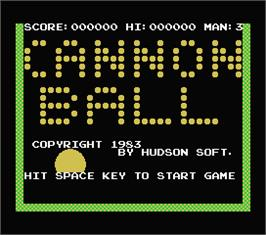 Title screen of Cannon Ball on the MSX.