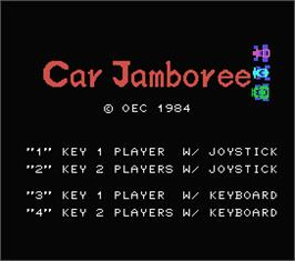 Title screen of Car Jamboree on the MSX.