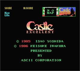 Title screen of Castle Excellent on the MSX.