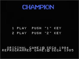 Title screen of Champion Boxing on the MSX.