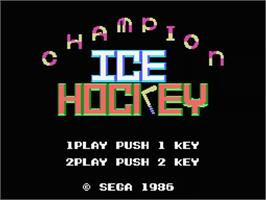 Title screen of Champion Ice Hockey on the MSX.