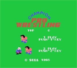 Title screen of Champion Pro Wrestling on the MSX.