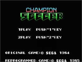 Title screen of Champion Soccer on the MSX.