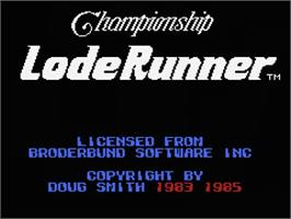 Title screen of Championship Lode Runner on the MSX.