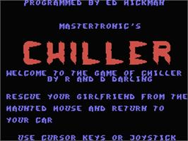 Title screen of Chiller on the MSX.
