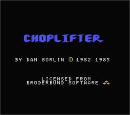 Title screen of Choplifter on the MSX.
