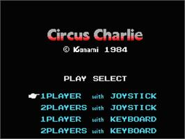 Title screen of Circus Charlie on the MSX.