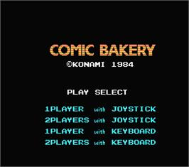 Title screen of Comic Bakery on the MSX.
