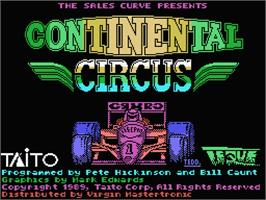 Title screen of Continental Circus on the MSX.