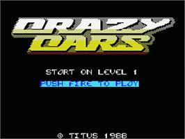 Title screen of Crazy Cars on the MSX.