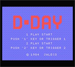 Title screen of D-Day on the MSX.