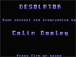 Title screen of Desolator on the MSX.