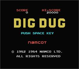 Title screen of Dig Dug on the MSX.
