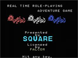 Title screen of Dragon Slayer: The Legend of Heroes on the MSX.