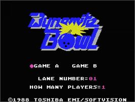 Title screen of Dynamite Bowl on the MSX.