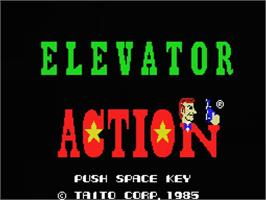 Title screen of Elevator Action on the MSX.