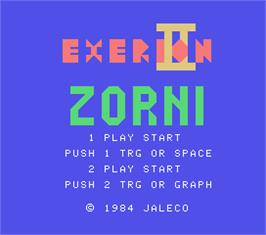 Title screen of Exerion II: Zorni on the MSX.