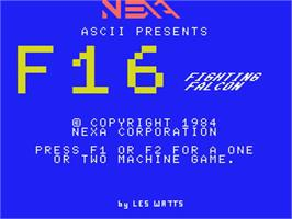 Title screen of F-16 Fighting Falcon on the MSX.