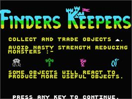 Title screen of Finders Keepers on the MSX.