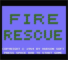 Title screen of Fire Rescue on the MSX.