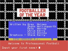 Title screen of Footballer of the Year on the MSX.