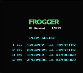 Title screen of Frogger on the MSX.