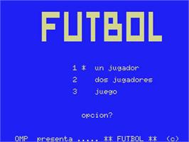 Title screen of Futbol on the MSX.