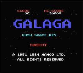 Title screen of Galaga on the MSX.