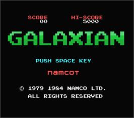 Title screen of Galaxian on the MSX.