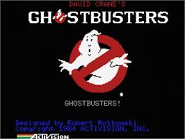 Title screen of Ghostbusters on the MSX.