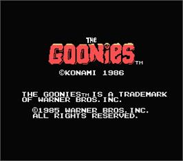 Title screen of Goonies, The on the MSX.