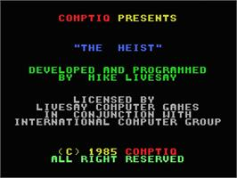 Title screen of Heist on the MSX.