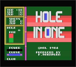 Title screen of Hole in One on the MSX.