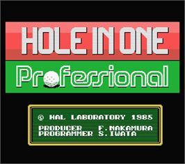 Title screen of Hole in One Professional on the MSX.