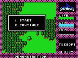 Title screen of Hydlide on the MSX.