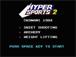 Title screen of Hyper Sports 2 on the MSX.