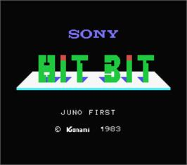 Title screen of Juno First on the MSX.