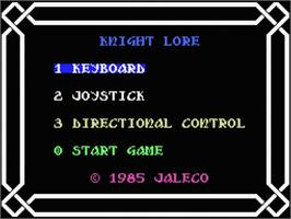 Title screen of Knight Lore on the MSX.
