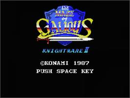 Title screen of Knightmare 2: The Maze of Galious on the MSX.