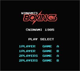 Title screen of Konami's Boxing on the MSX.