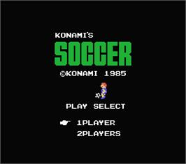Title screen of Konami's Soccer on the MSX.