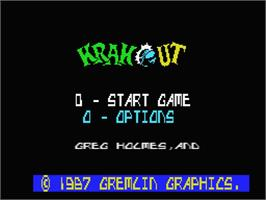 Title screen of Krakout on the MSX.
