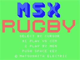 Title screen of MSX Rugby on the MSX.