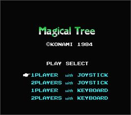 Title screen of Magical Tree on the MSX.