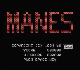 Title screen of Manes on the MSX.
